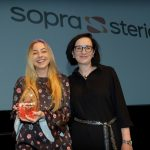 Gala - our overall winner, with prize sponsor Alison McLaughlin of Sopra Steria